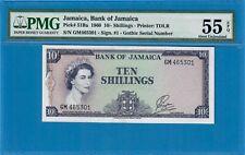 JAMAICA-10/- SHILLINGS-1960-QEII-PICK 51Ba **PMG 55 EPQ ABOUT UNC**