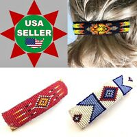 HANDMADE GLASS SEED BEADED RED BLUE BLACK ORANGE COLOR LEATHER HAIR BARRETTE