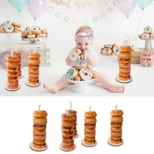 2Pc 12'' Wood Doughnut Stand Table Donuts Holder Happy Birthday Party Decoration