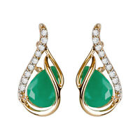 10k Yellow Gold Genuine Pear-Shape Emerald and Diamond Curved Halo Drop Earrings