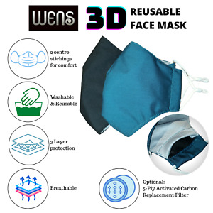 3D Reusable 3-Ply Cotton Face Mask with Replacement PM2.5 Charcoal Filters