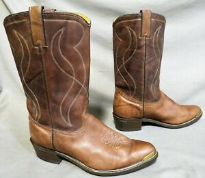 MENS TEXAS BROWN LEATHER COWBOY HIKING FARM WORK BOOTS SZ 12 EE