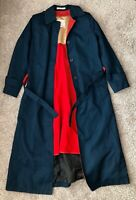 Misty Harbor Womens Blue Trench Coat Jacket Wool Red Lining Size 6