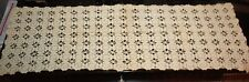 Antique Hand Crochet Table Runner Medallion Ecru 47 x 16
