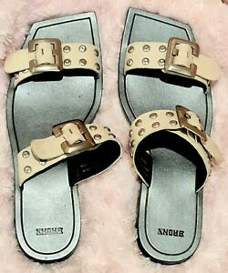 BRONX big buckle square toe slip on mules in white leather - worn once