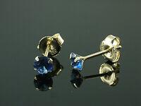 333 Gold  Ohrstecker  mit 4 Krappen 1 Paar 4 mm Grösse mit  echten Saphiren