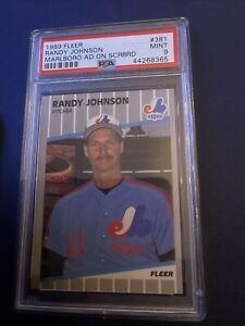 1989 RANDY JOHNSON Fleer MARLBORO Ad On Scoreboard Error #381 PSA 9 MINT .365