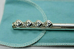 Tiffany & Co 4 Heart Padlocks Ink Pen Sterling Silver Pouch & Box Rare Vintage