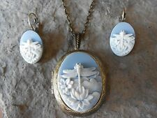 (Dragonfly Cameo Locket and French Earrings Set) - Blue - Bronze - Lotus Flower