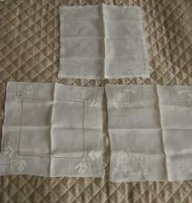 3 Vintage Wedding Handkerchiefs delicate Drawnwork pulled thread floral Applique