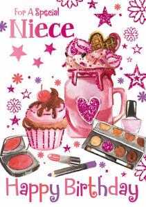 "Fun Modern Glittered Mason Jar Ice Cream & Makeup ""SPECIAL NIECE"" Birthday Card"