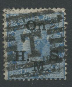 India SGO36 1877 1/2a blue Die II blue black overprint Used