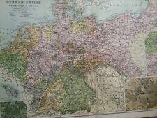 C1898 German Empire Large Original Antique Map Germany Metz Berlin Helgoland