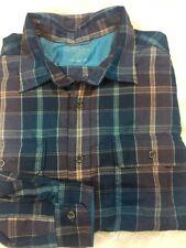 Men's Orvis Polyester Plaid Button Up Shirt XL blue sportsman Costco