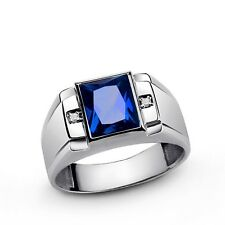 Mens Gemstone Ring With Diamond Accents In 10K Solid White Gold Comfort Fit Ring