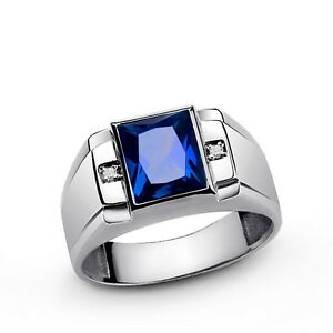 Mens Ring with Bluue SAPPHIRE and 2 DIAMOND Accents in 925 Fine Sterling Silver