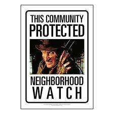 New* Nightmare on Elm Street Neighborhood Watch Tin Sign * Freddy Metal 8 x 11.5
