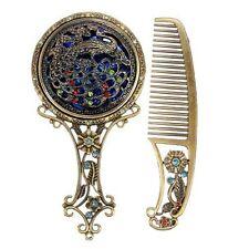 Vintage Antiqued Mini Copper Phoenix Mirror with Comb Set Color : At Random