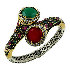 Turkish Handmade Hurrem Sultan 925 Sterling Silver Ruby Ladies Bracelet #1239