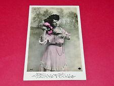 CPA CARTE POSTALE 1917 BONNE ANNEE FEMME AVEC FLEURS N°246