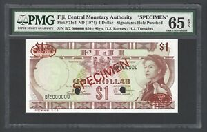 Fiji One Dollar ND(1974) P71s4 Specimen Uncirculated Grade 65