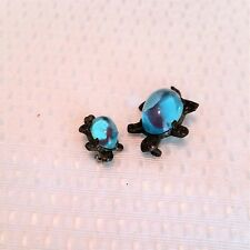 Vintage blue lucite jelly belly turtle brooch pin lot of 2 C clasp