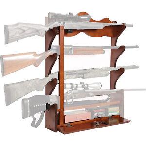American Furniture Classics Wood Home Wall Mount 4 Rifle Gun Rack, Medium Brown