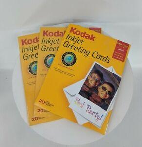 Kodak Inkjet Matte Half Fold 20 White Greeting Cards w/ Envelopes LOT OF 3 TOTAL