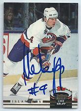 Uwe Krupp signed 1992-93 Stadium Club card New York Islanders autograph #177