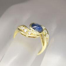 Ring mit ca. 0,40ct Brillant TW-si und Saphir Cabochon Besatz in 750/18K Gelbold