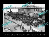 OLD LARGE HISTORIC MILITARY PHOTO WWI LIEPAJA LATVIA GERMAN TROOPS ARRIVE 1917