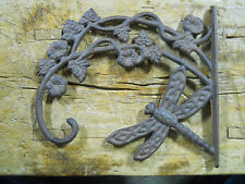 Cast Iron Victorian Style Dragonfly Plant Hook Garden Hanger Wall Barn Fence