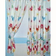 """BUTTERFLIES 66"""" x 72"""" LINED CURTAINS NEW WITH TIE-BACKS"""