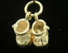 C032 Genuine 9K Solid Yellow Gold Movable Baby Booties Charm 3D & jumpring