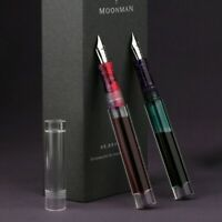 1x Moonman C1 Transparent Resin Office Fountain Pen Silver Fine Nib Writing Gift