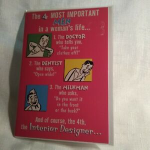 SELECTIVE HUMOROUS FEMALE BIRTHDAY CARD - 4 MOST IMPORTANT MEN - SAUCY Old Stock