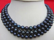 """Perfect 50"""" AAA 9-10MM TAHITIAN BLACK PEARL NECKLACE 14K GOLD CLASP"""