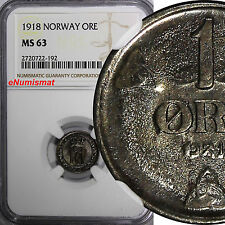 Norway Haakon Vii Iron 1918 1 Ore Ngc Ms63 Wwi Issue Scarce High Grade Km# 367a