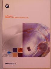 Prospekt BMW Individual Farben- und Materialübersicht, 1998, 8 Seiten, folder