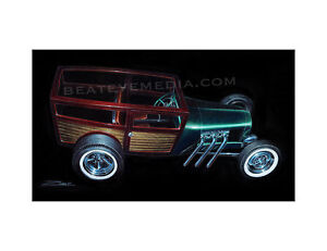 ZOMBIE-ART PRINT-WOODY,WOODIE,FORD,HOT ROD,CHEVY,CARS,RAT ROD,ED ROTH,DODGE,CARS