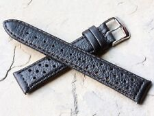 Black 18mm racing band takes 16mm Heuer buckle for early Heuer Carrera watch