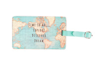 Sass & Belle Vintage World Map Time to Go Luggage Suitcase Tag Label Travel Gift