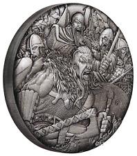 WARFARE – VIKINGS 2018 2oz Silver Antique HIGH RELIEF RIMLESS Coin 3D VIEW