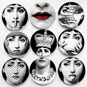 8 Inch Vintage Fornasetti Plates Wall Hanging Dishes Home Black & White Decor