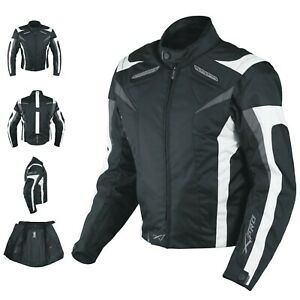 Motorcycle Jacket CE Armored Textile Motorbike Racing  Thermal Liner  White M