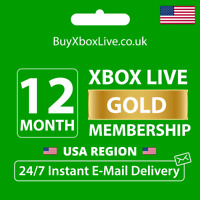 12 MONTHS XBOX LIVE GOLD MEMBERSHIP FOR XBOX 360 / XBOX ONE USA   INSTANT