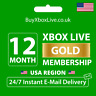 12 MONTHS XBOX LIVE GOLD MEMBERSHIP FOR XBOX 360 / XBOX ONE USA | INSTANT