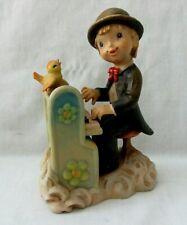 """Anri Ferrnandez 6"""" Figurine """"Play It Again"""" Boy Playing Organ W/ Bird"""