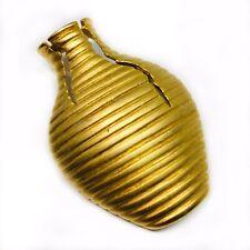 Horizontal Design Strlips 2.25 Inches Brooch Pin Goldtone Vase with Cracks