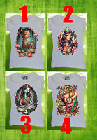 Disney All Princess Women T-shirt Tattoo Tiana Sleeping Beauty Sexy Bad Girls